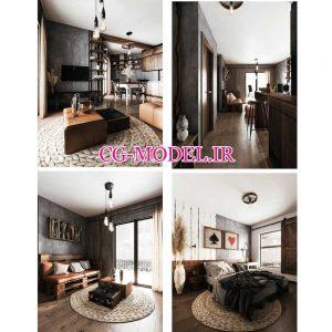 مدل سه بعدی صحنه داخلی اتاق نشیمن و اتاق خواب و آشپزخانه