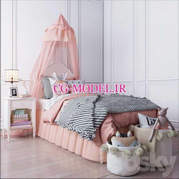 مدل سه بعدی تخت و لوازم اتاق کودک