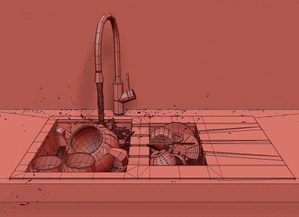 مدل سه بعدی سینک ظرفشویی همراه ظروف داخل سینک
