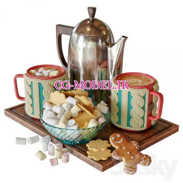 مدل سه بعدی شیرینیجات و ظروف