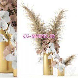 مدل سه بعدی گل رز و گیاه
