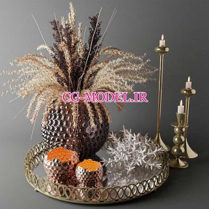 مدل سه بعدی گلدان گیاه و شمع