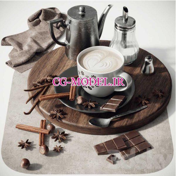 مدل سه بعدی قهوه و شکلات و ظروف