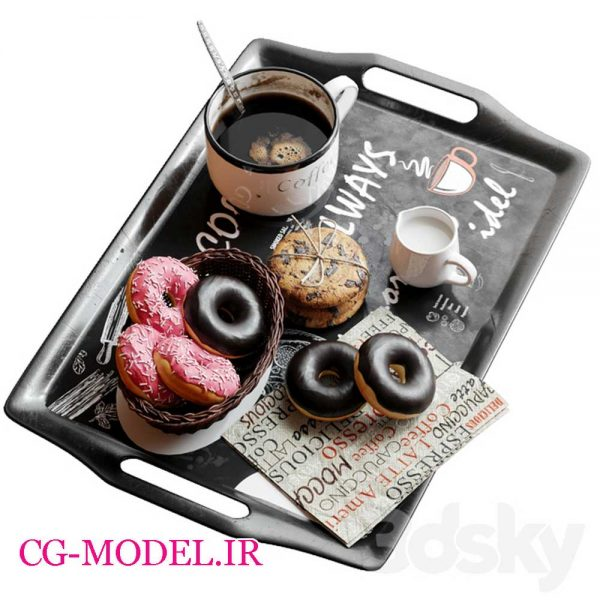 مدل سه بعدی فنجان قهوه و دونات وشیرینی