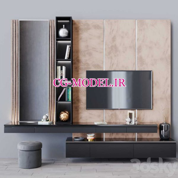 مدل سه بعدی میز تلویزیون دیواری (2)